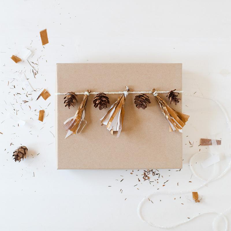 gift wrap: fringe + pinecones // #anastasiamariecards