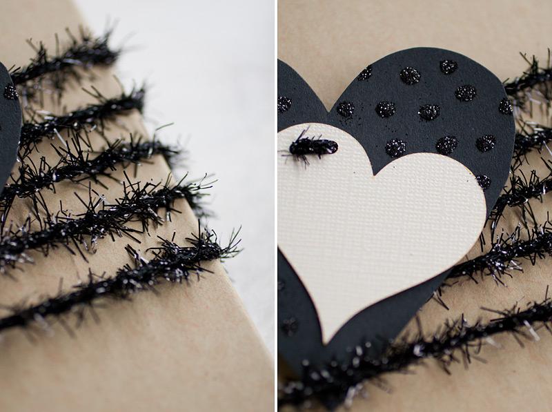 valentine's day gift wrap // polka glitter heart // #anastasiamariecards
