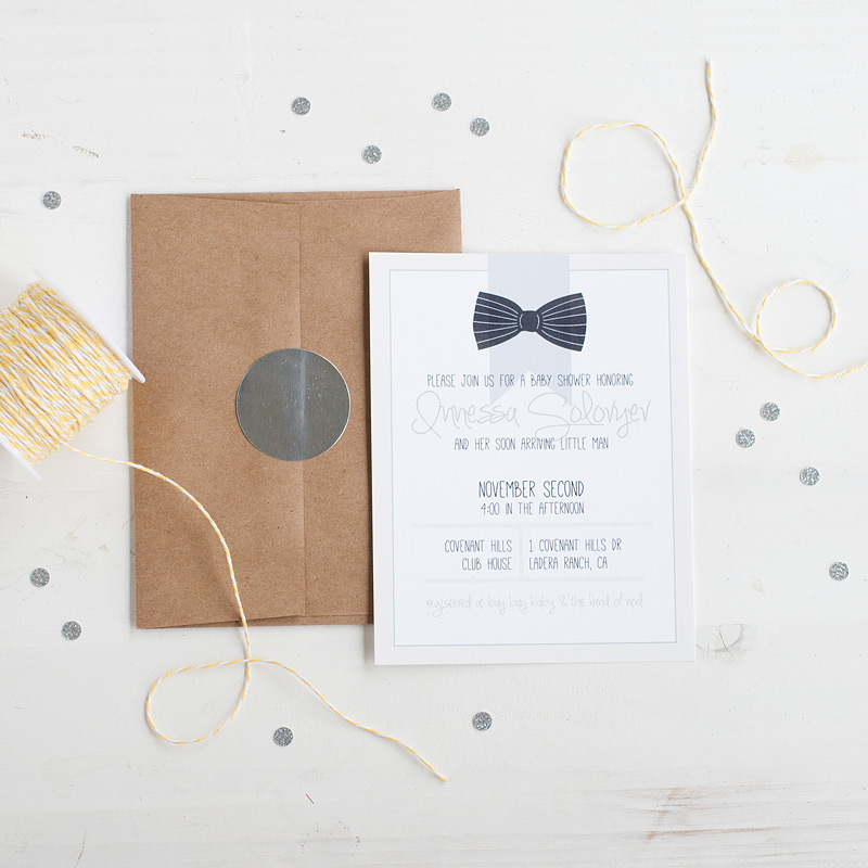 baby shower invitations // black bow // #anastasiamariecards