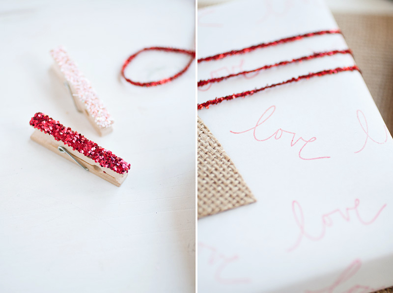 valentine's gift wrap // burlap heart and handmade wrapping paper #anastasiamariecards