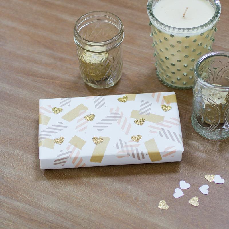 valentine gift wrap // hearts + washi // by anastasia marie
