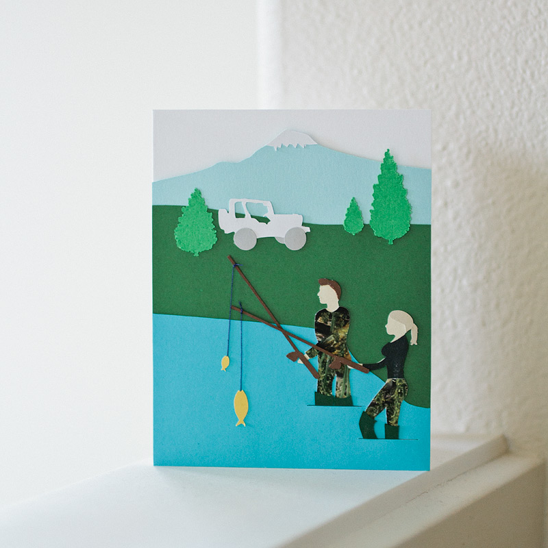 custom card: gone fishing // by ANASTASIA MARIE
