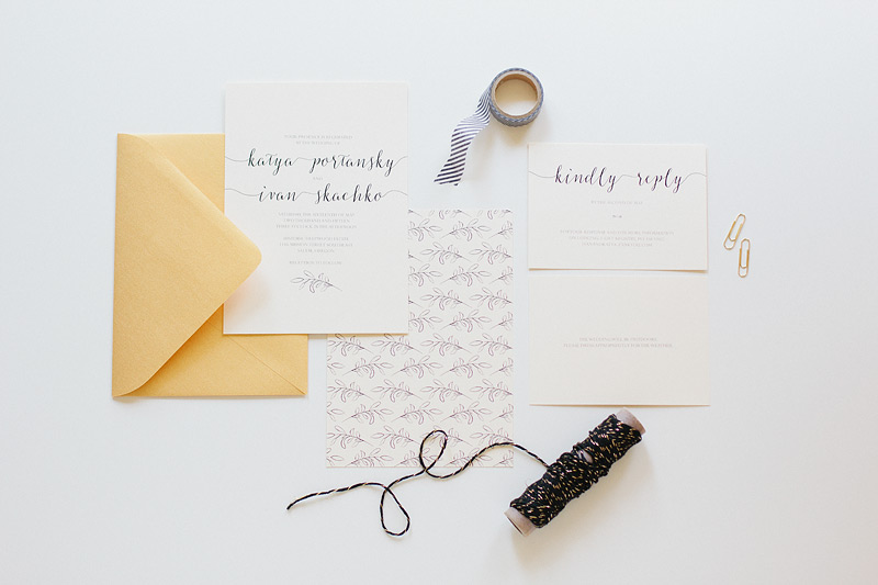 wedding stationery: simple leaf and type by ANASTASIA MARIE