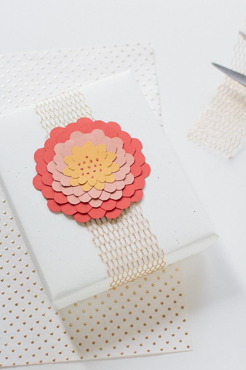 paper dahlia gift wrap via ANASTASIA MARIE