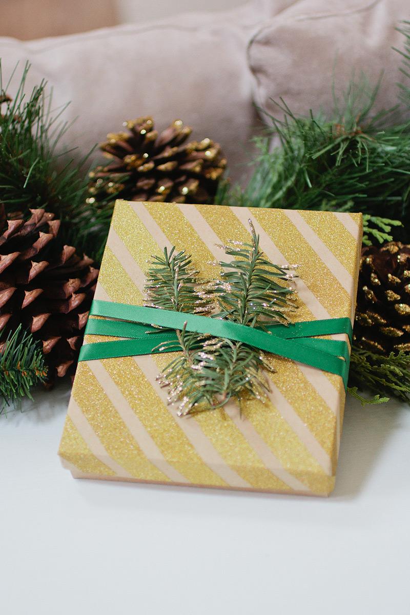 christmas gift wrap // glitter stripe noble