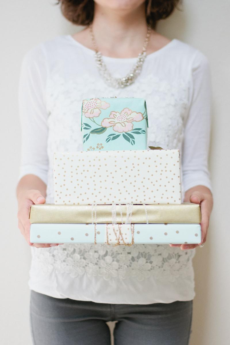 pastel blue + ivory + gold gift wrap // via Anastasia Marie